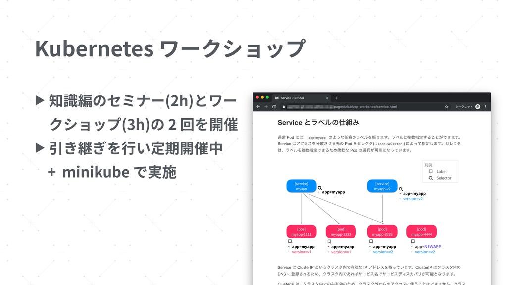Kubernetes ワークショップ 7 ▶ 知識編のセミナー(2h)とワー クショップ(3h...