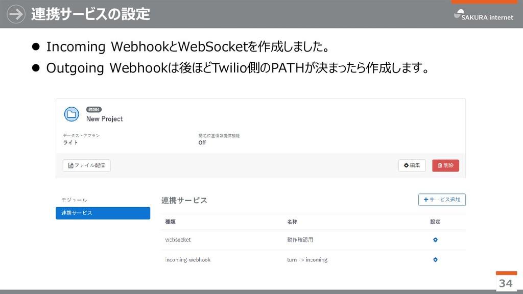 連携サービスの設定  Incoming WebhookとWebSocketを作成しました。 ...