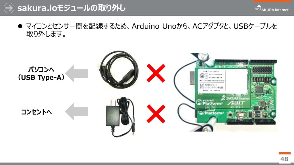 sakura.ioモジュールの取り外し  マイコンとセンサー間を配線するため、Arduino...