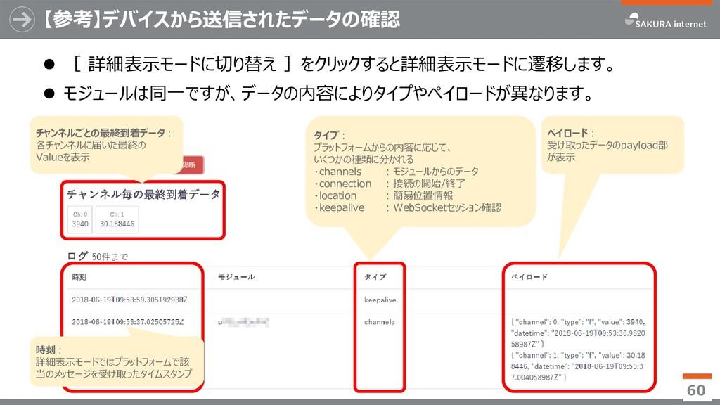 【参考】デバイスから送信されたデータの確認  [ 詳細表示モードに切り替え ]をクリックする...