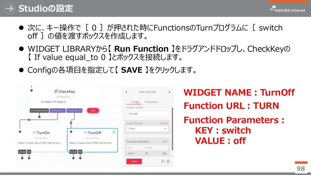  次に、キー操作で[ 0 ]が押された時にFunctionsのTurnプログラムに[ swi...
