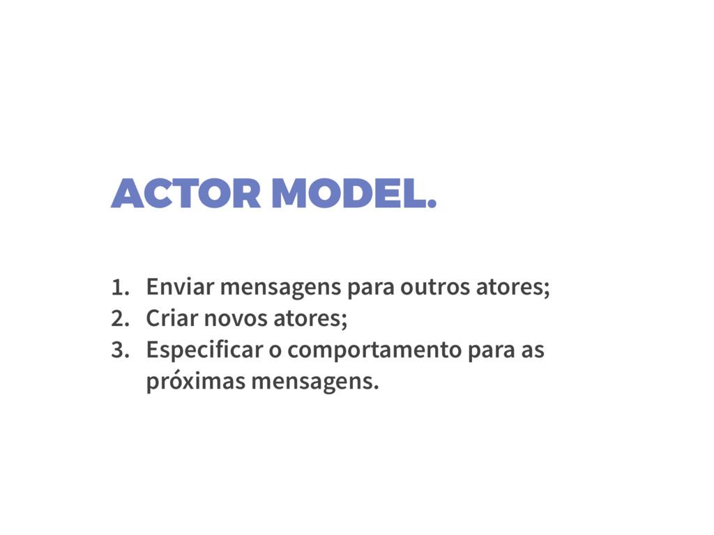ACTOR MODEL. 1. Enviar mensagens para outros at...