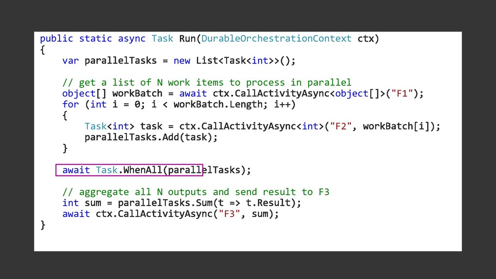 public static async Task DurableOrchestrationCo...