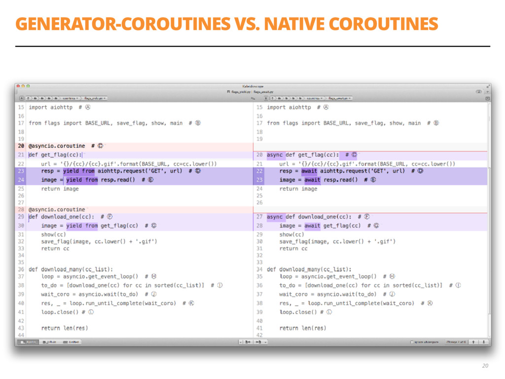GENERATOR-COROUTINES VS. NATIVE COROUTINES 20