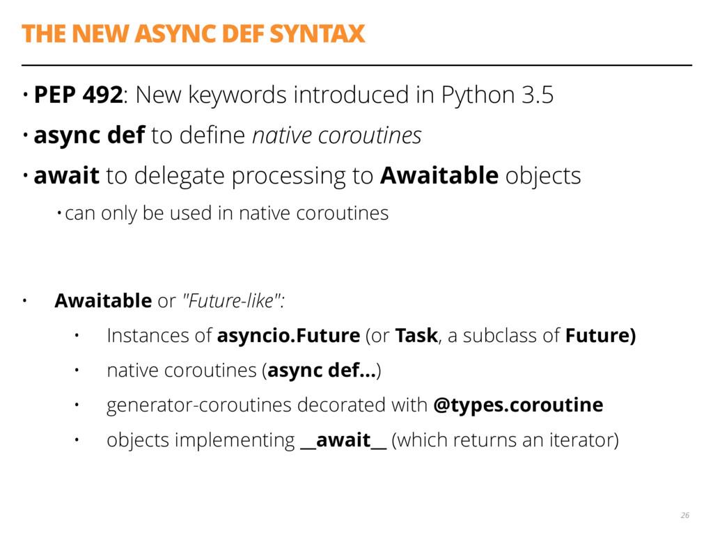 THE NEW ASYNC DEF SYNTAX • PEP 492: New keyword...