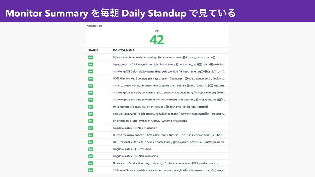 Monitor Summary Λຖே Daily Standup Ͱݟ͍ͯΔ