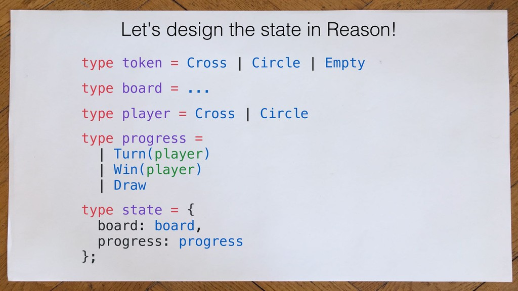 Let's design the state in Reason! type state = ...