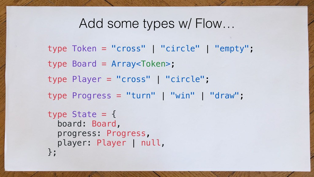 Add some types w/ Flow… type State = { board: B...