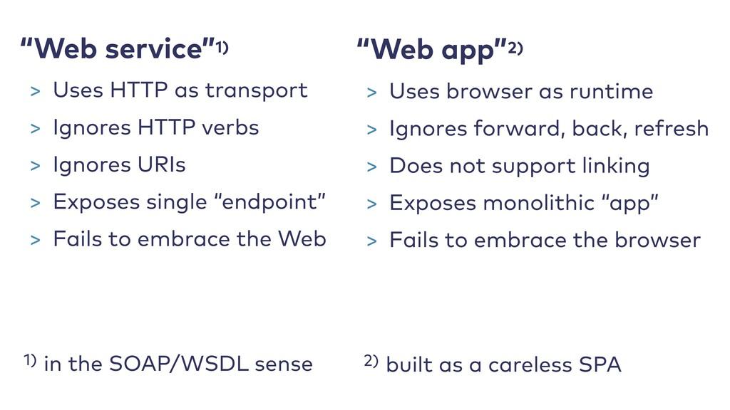 "1) in the SOAP/WSDL sense ""Web app""2) 2) built ..."