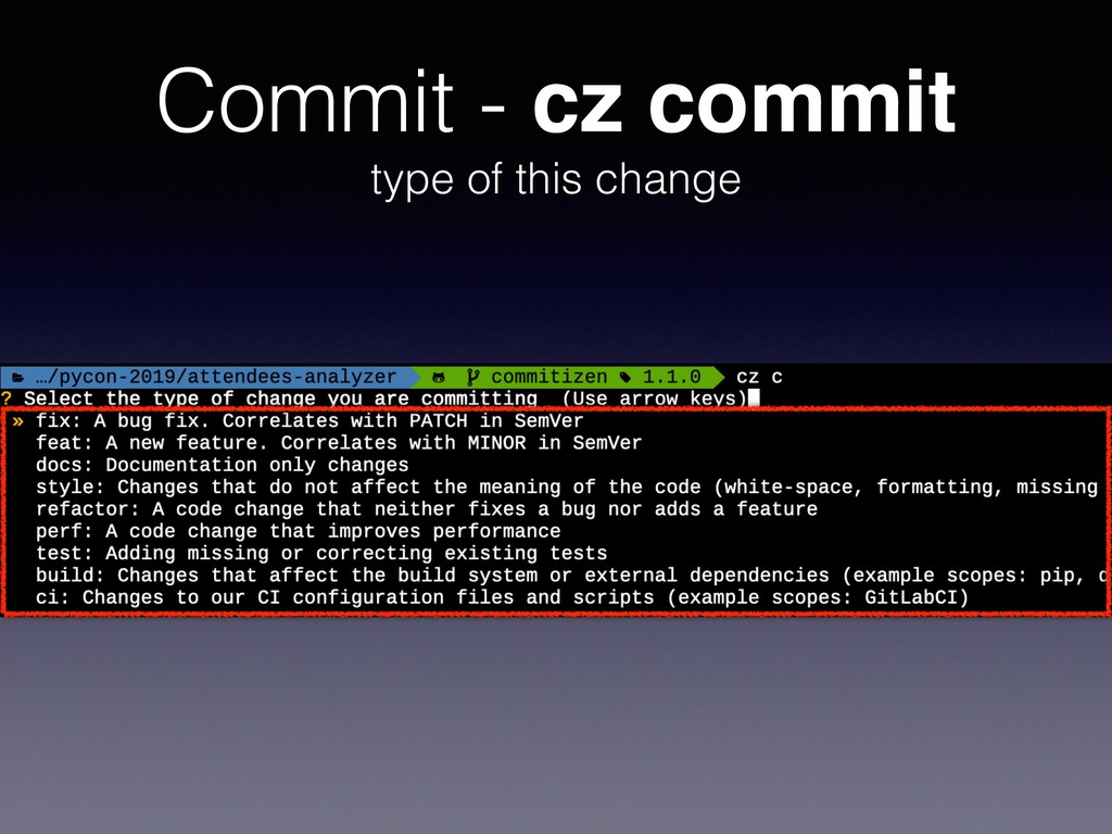 Commit - cz commit type of this change