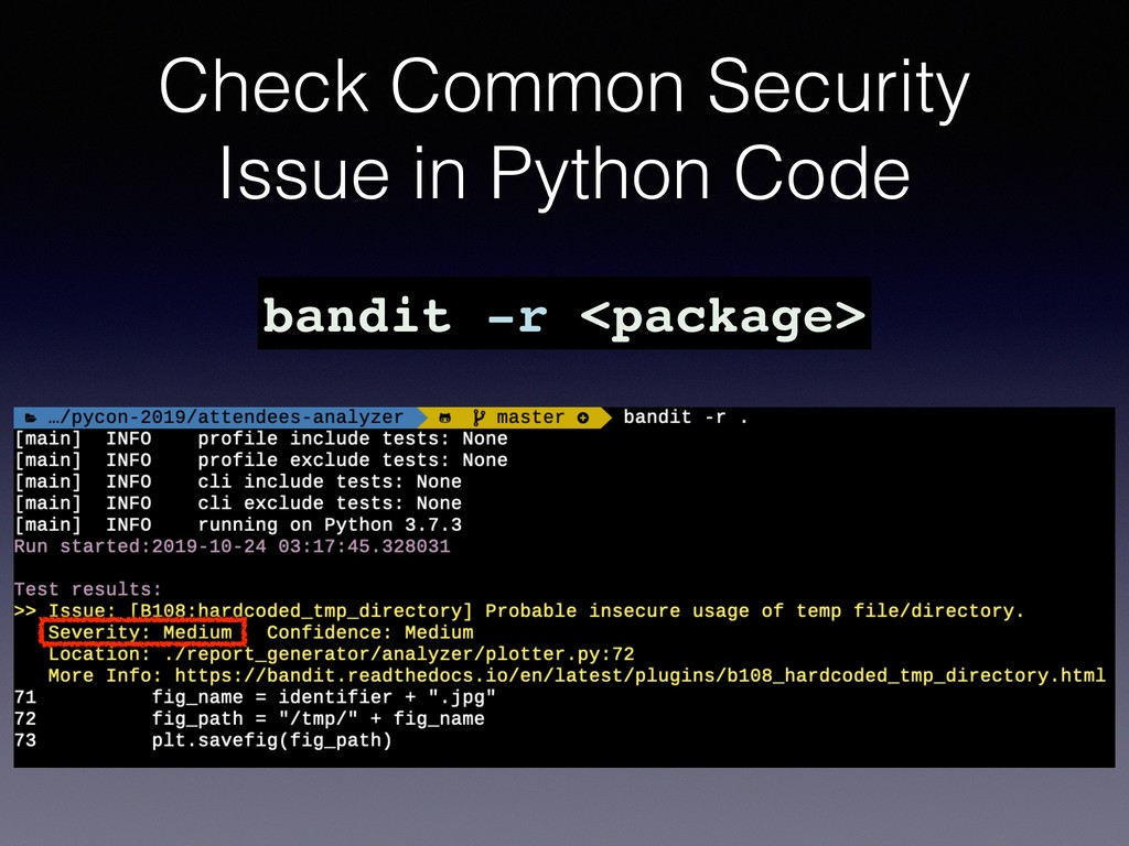 Check Common Security Issue in Python Code band...