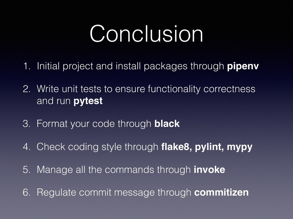 Conclusion 1. Initial project and install packa...