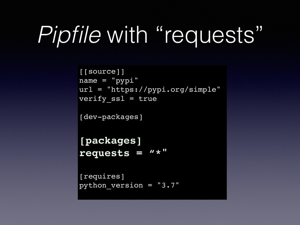"""Pipfile with """"requests"""" [[source]] name = """"pypi""""..."""