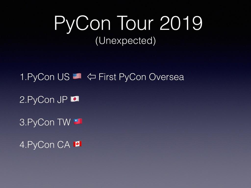 PyCon Tour 2019 (Unexpected) 1.PyCon US ! ⇦ Fir...