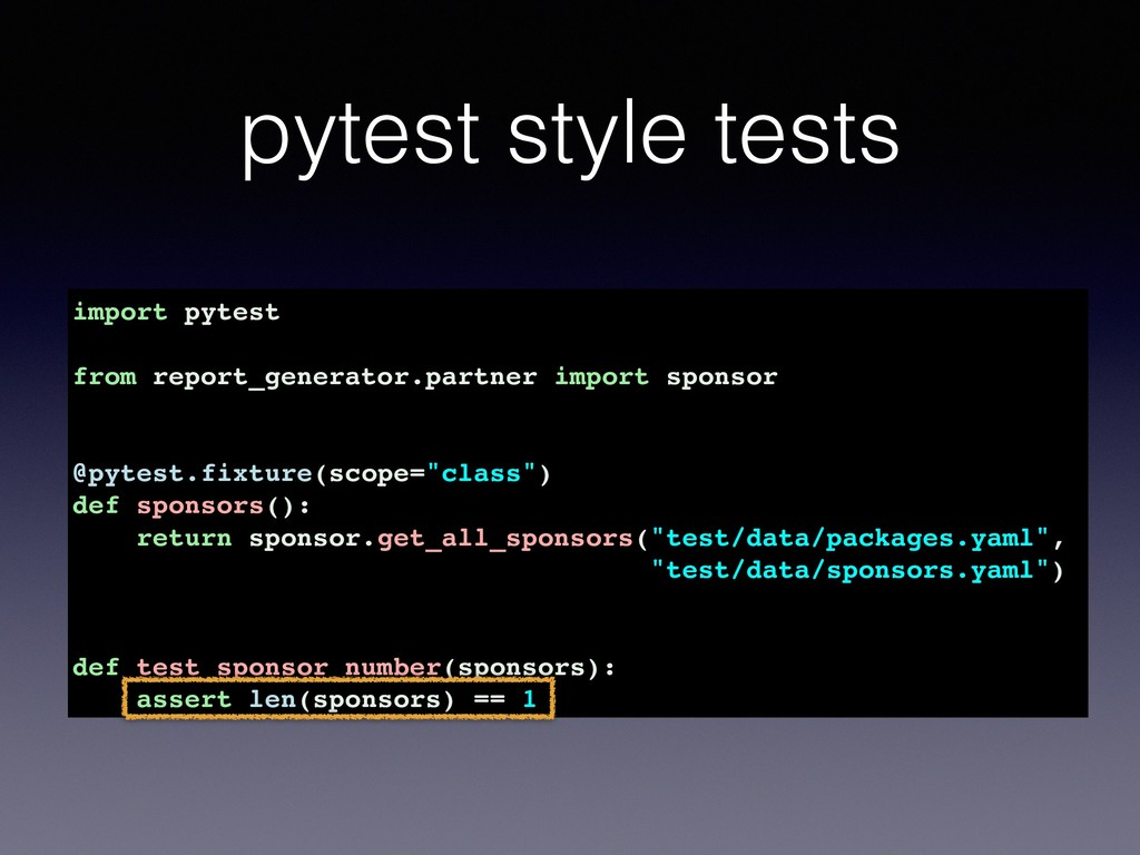pytest style tests import pytest from report_ge...