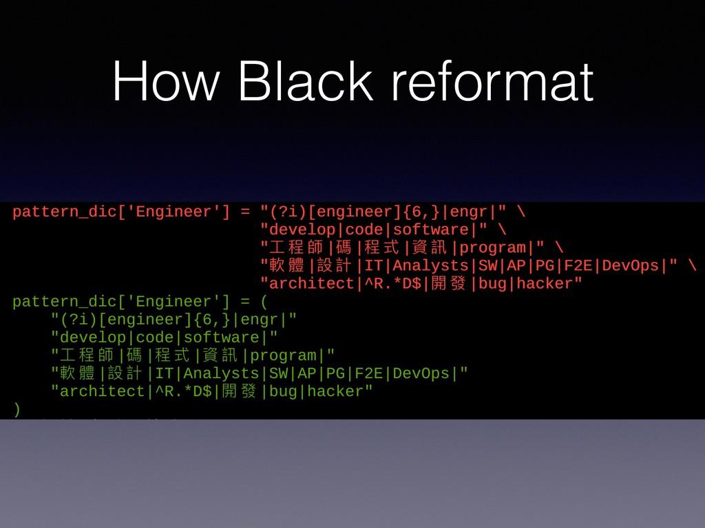 How Black reformat