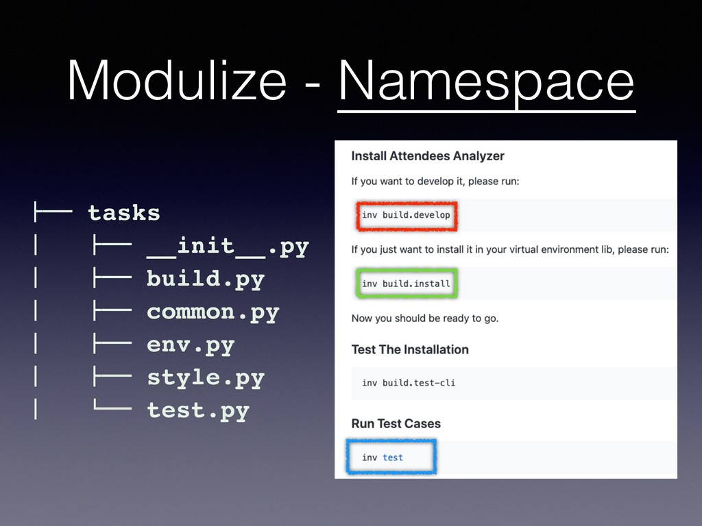 "Modulize - Namespace #"""" tasks $ #"""" __init__.p..."