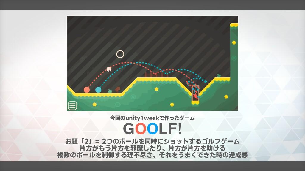 GOOLF! お題「2」= 2つのボールを同時にショットするゴルフゲーム 片方がもう片方を邪魔...