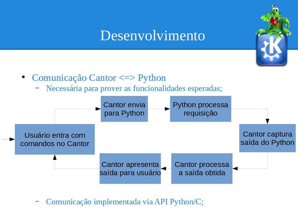 Desenvolvimento ● Comunicação Cantor <=> Python...