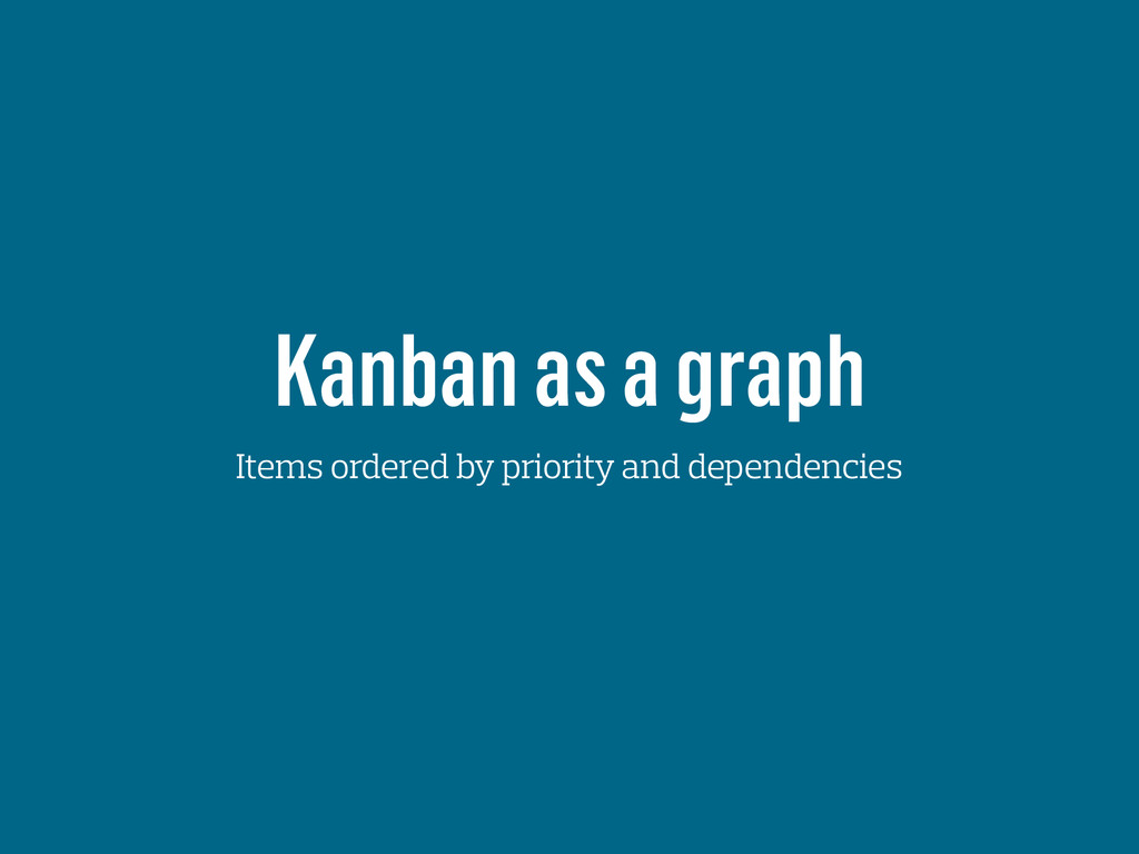 Kanban as a graph Items ordered by priority and...