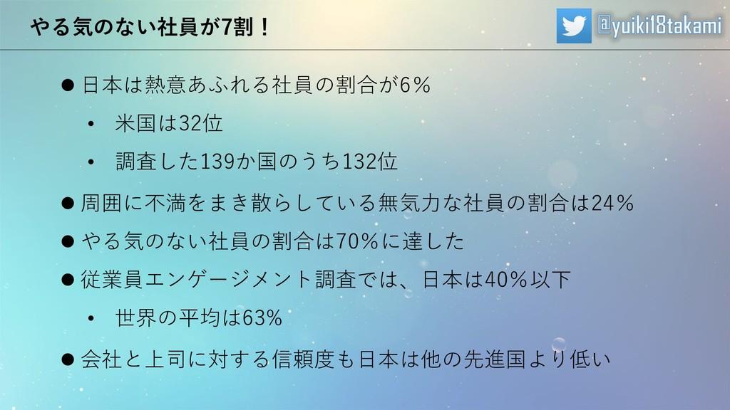 やる気のない社員が7割! ⚫ 日本は熱意あふれる社員の割合が6% • 米国は32位 • 調査し...