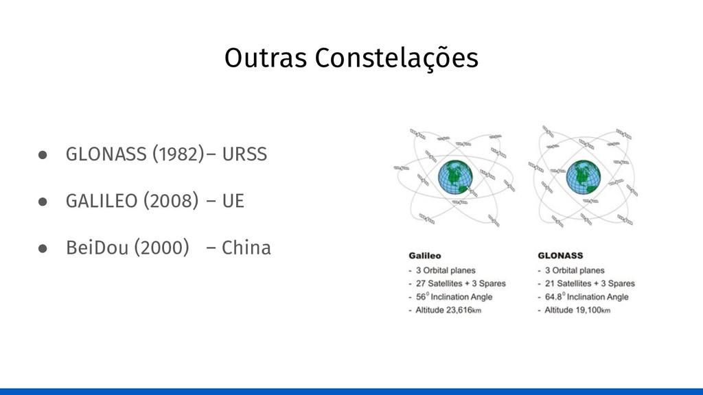 Outras Constelações ● GLONASS (1982)– URSS ● GA...