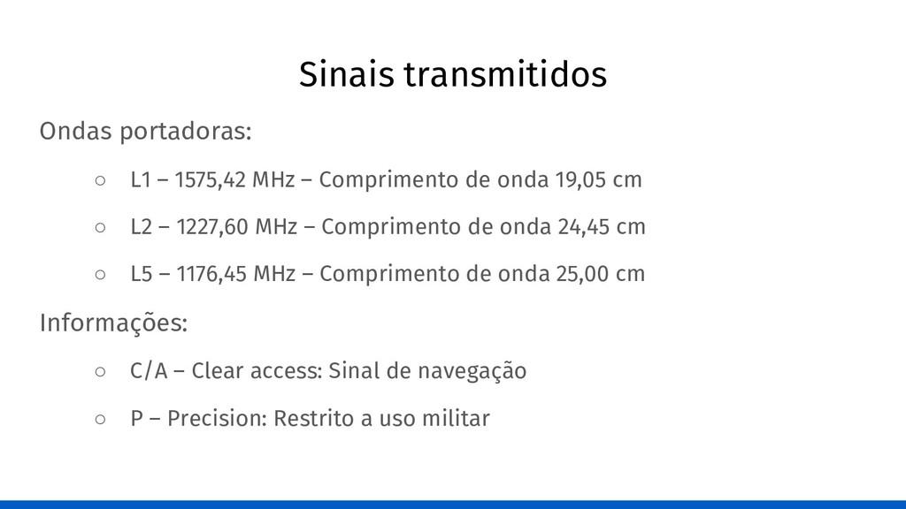 Sinais transmitidos Ondas portadoras: ○ L1 – 15...