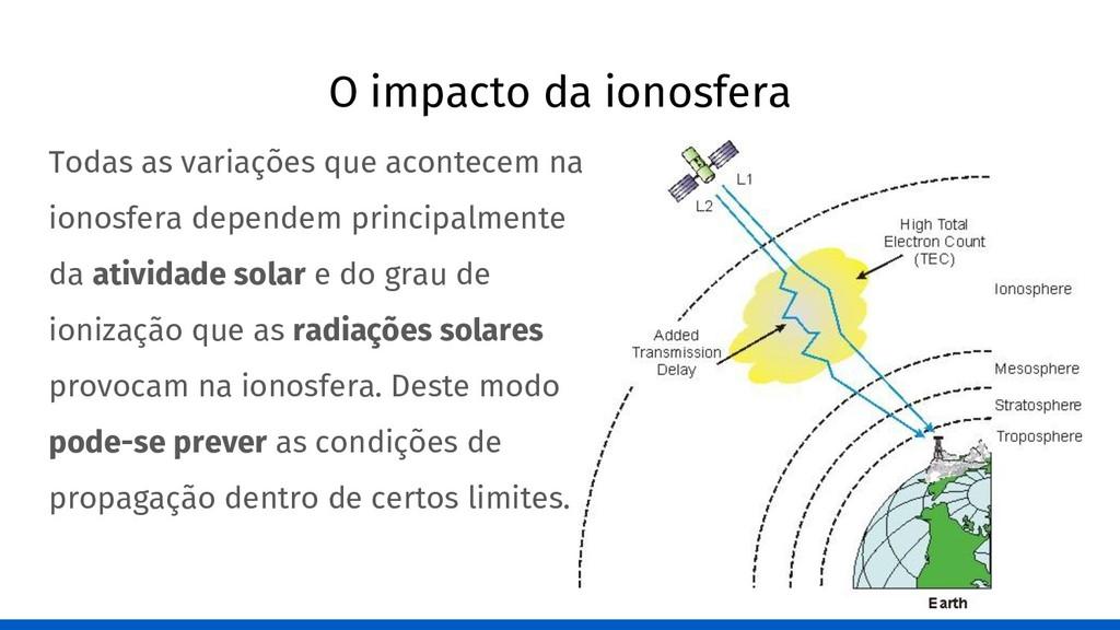O impacto da ionosfera Todas as variações que a...
