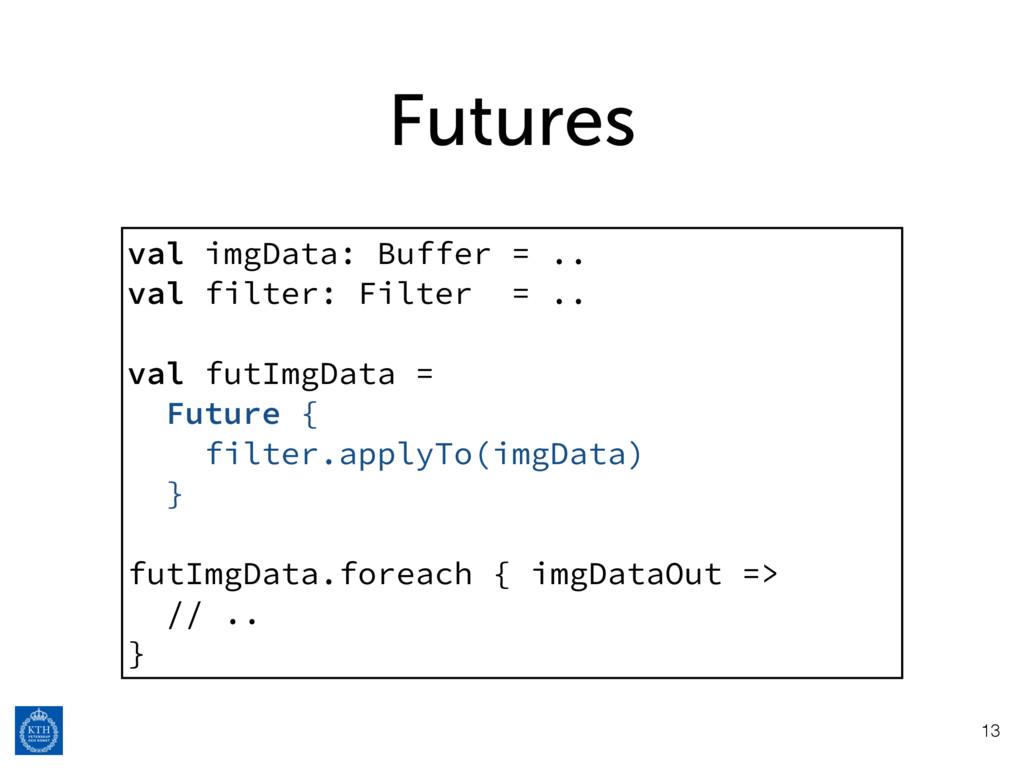 Futures 13 val imgData: Buffer = .. val filter:...
