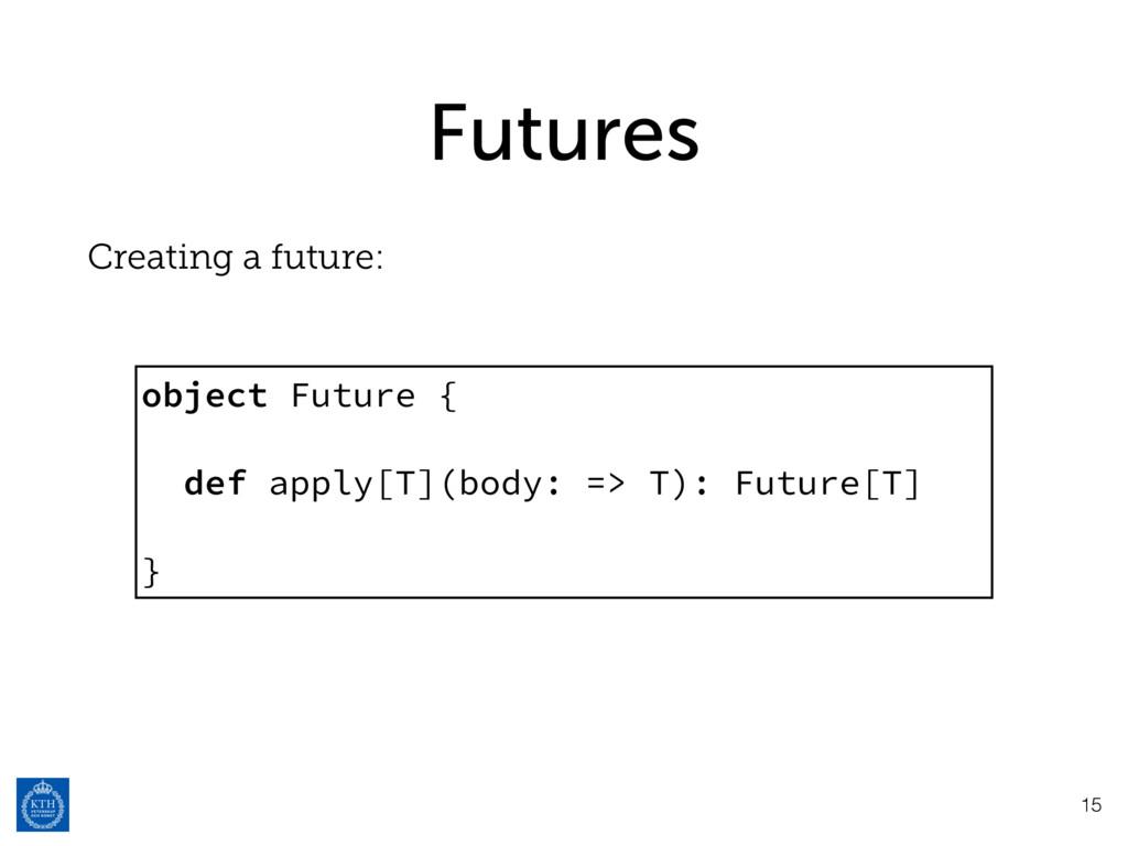Futures Creating a future: 15 object Future { d...