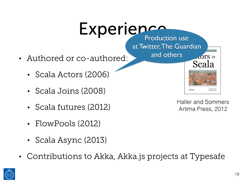 Experience • Authored or co-authored: • Scala A...