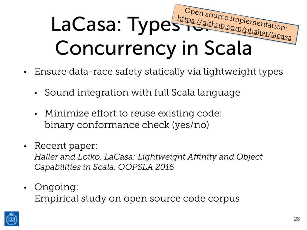 LaCasa: Types for Safe Concurrency in Scala • E...