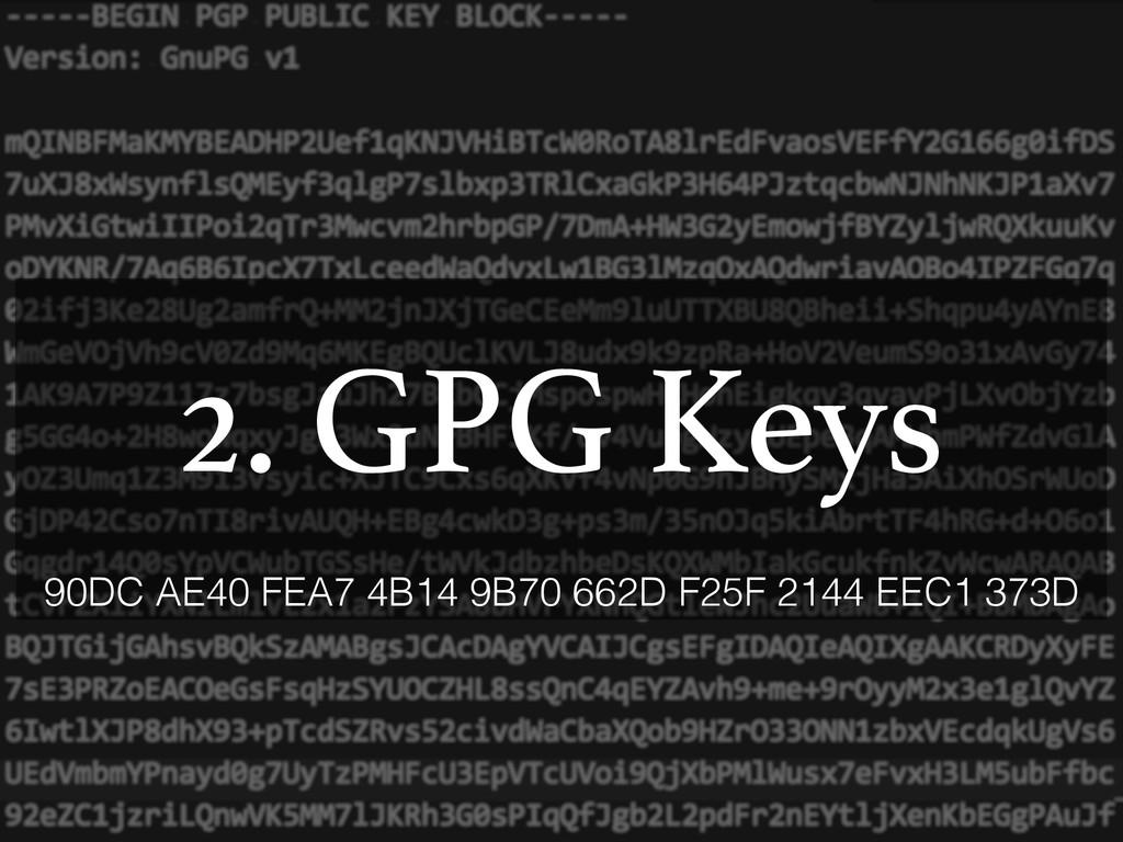 2. GPG Keys 90DC AE40 FEA7 4B14 9B70 662D F25F ...