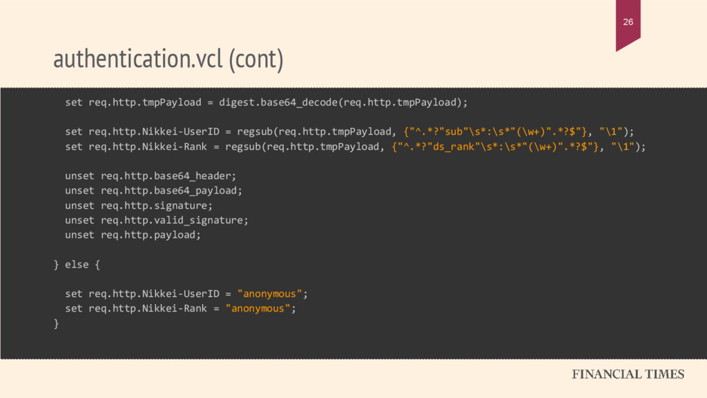 authentication.vcl (cont) 26 set req.http.tmpPa...