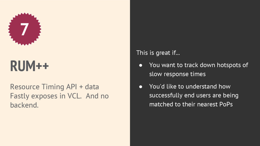 RUM++ Resource Timing API + data Fastly exposes...