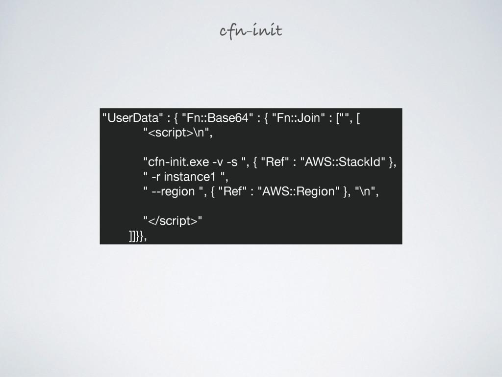 "cfn-init ""UserData"" : { ""Fn::Base64"" : { ""Fn::J..."