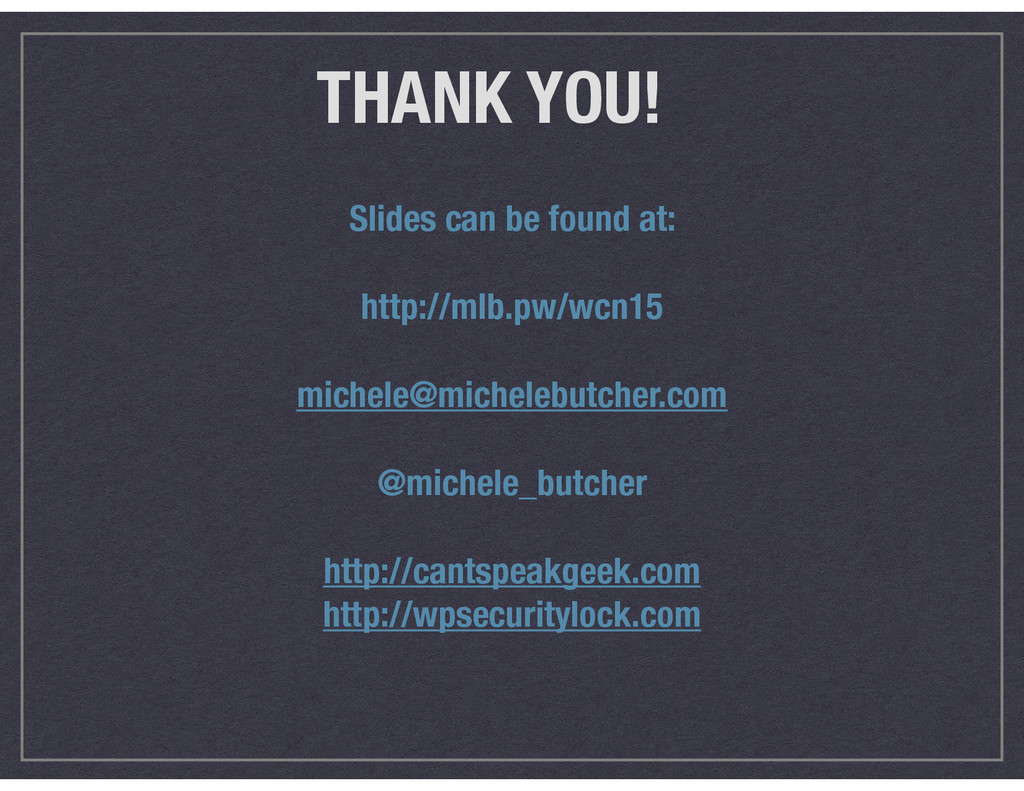 THANK YOU! Slides can be found at: http://mlb.p...