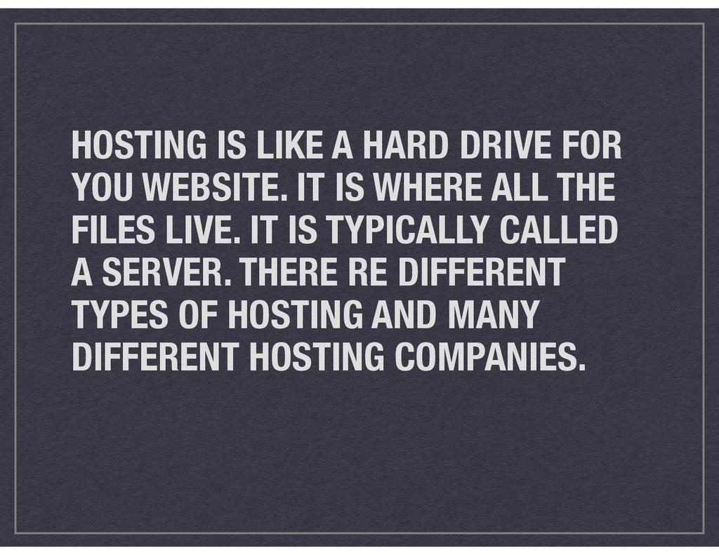 HOSTING IS LIKE A HARD DRIVE FOR YOU WEBSITE. I...