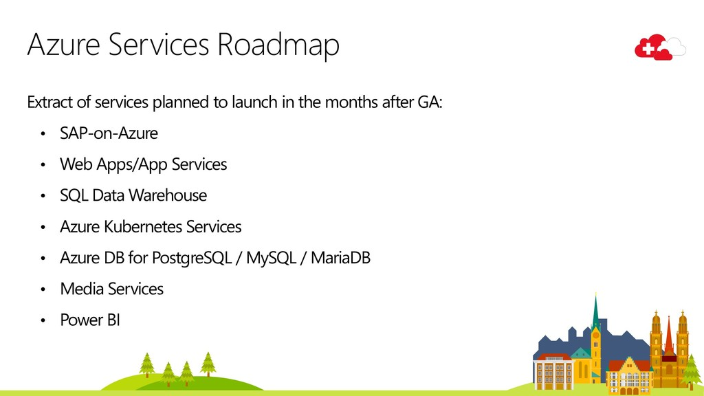 Extract of services planned to launch in the mo...