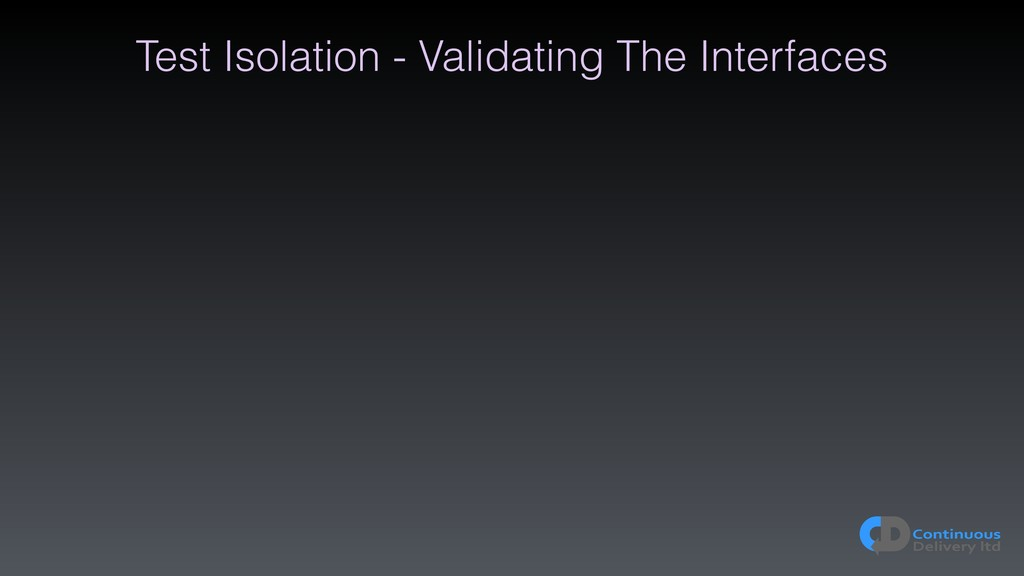 Test Isolation - Validating The Interfaces