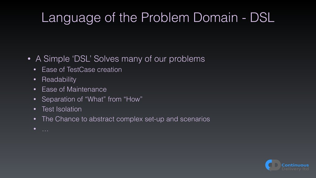 Language of the Problem Domain - DSL • A Simple...