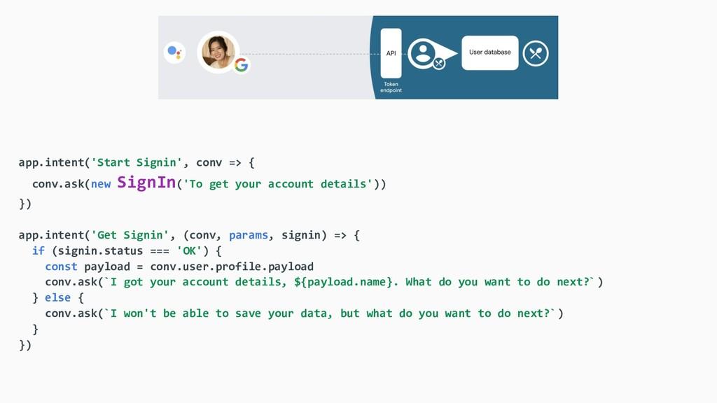 app.intent('Start Signin', conv => { conv.ask(n...