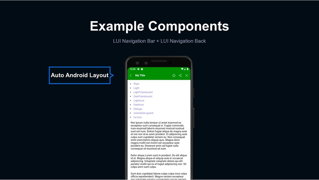 Example Components LUI Navigation Bar + LUI Nav...
