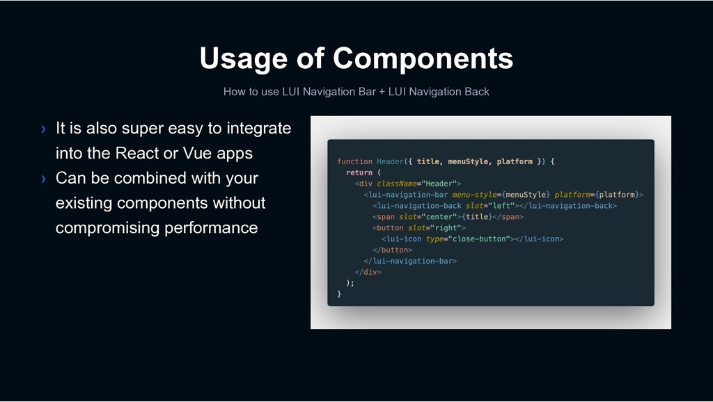 Usage of Components How to use LUI Navigation B...