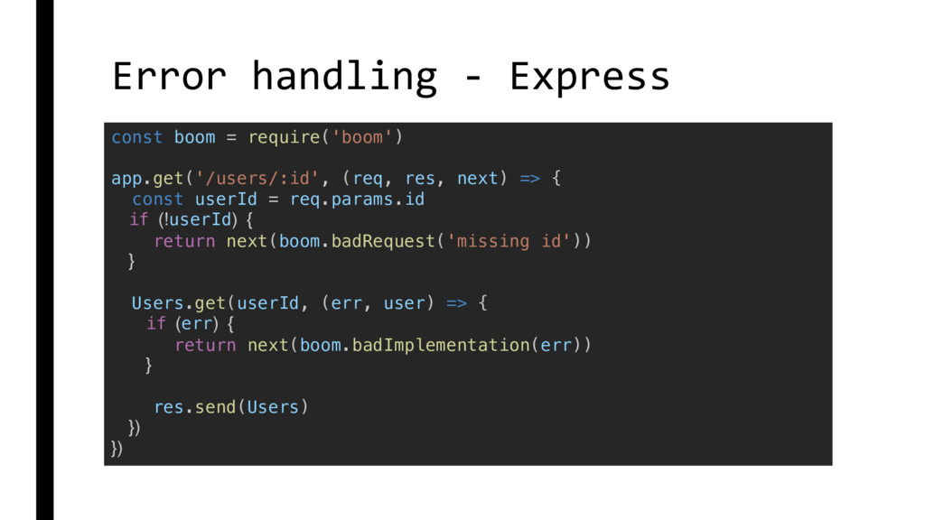 Error handling - Express const boom = require('...