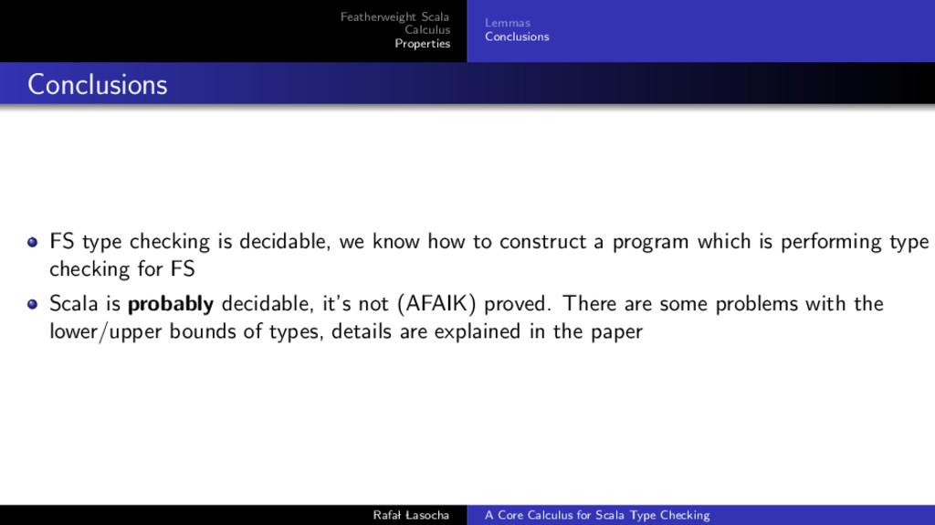 Featherweight Scala Calculus Properties Lemmas ...