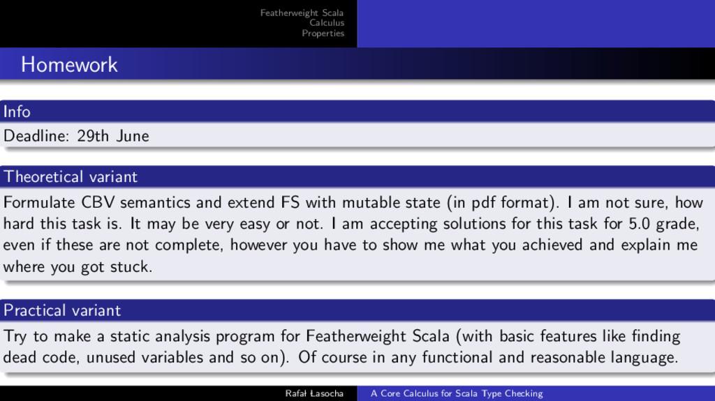 Featherweight Scala Calculus Properties Homewor...