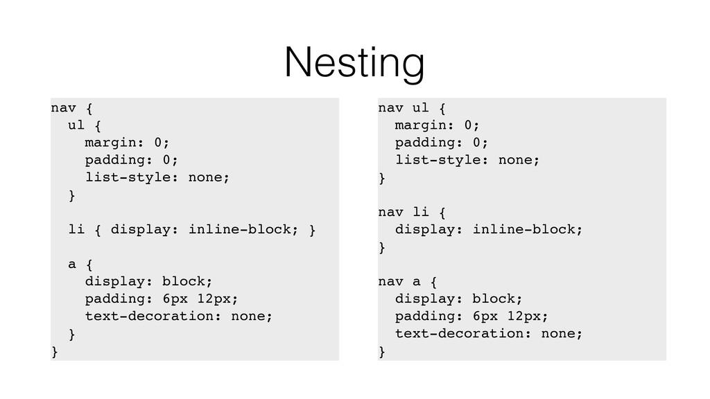 Nesting nav { ul { margin: 0; padding: 0; list-...