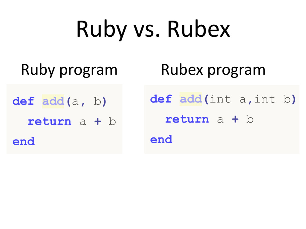 Ruby vs. Rubex Ruby program Rubex program def a...