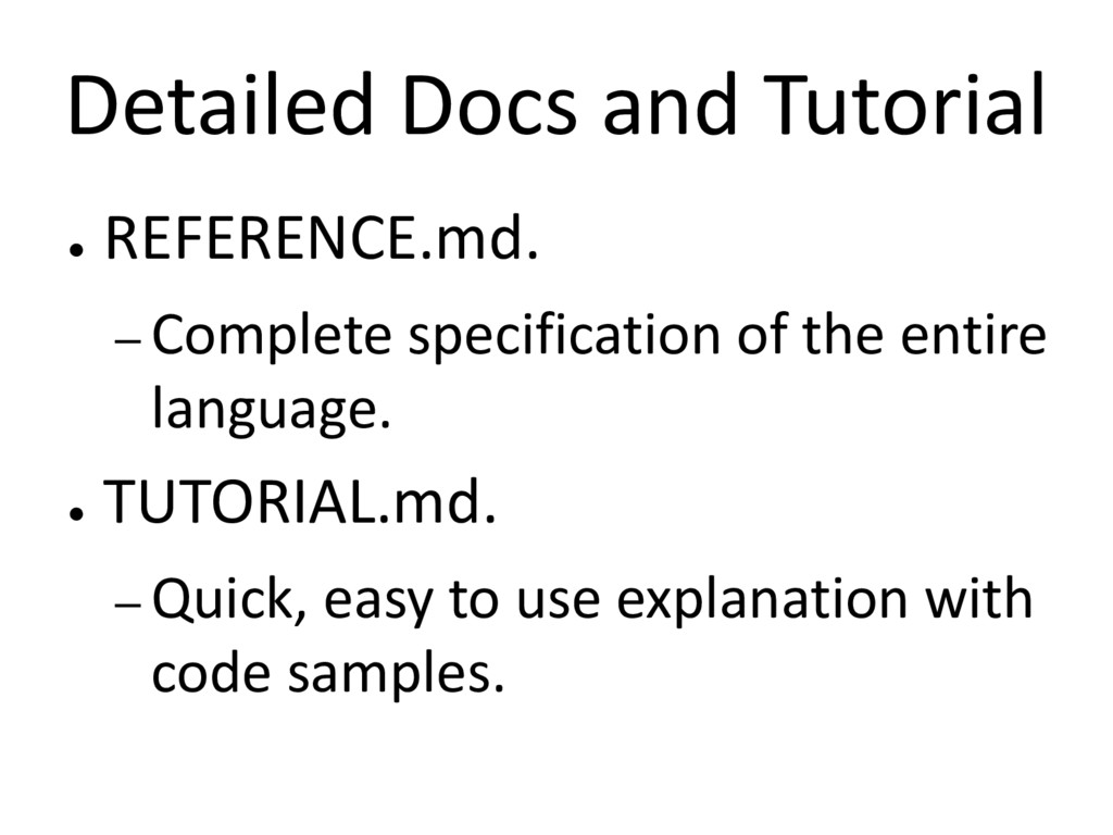 Detailed Docs and Tutorial ● REFERENCE.md. – Co...